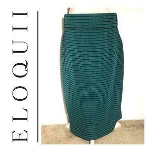 Eloquii Green Striped Skirt